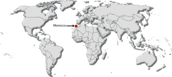 World map - destination Morocco